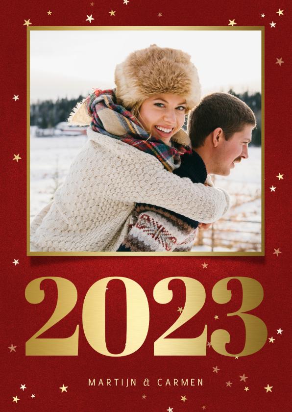 Kerstkaarten - Kerstkaart met foto, gouden 2022 en sterren