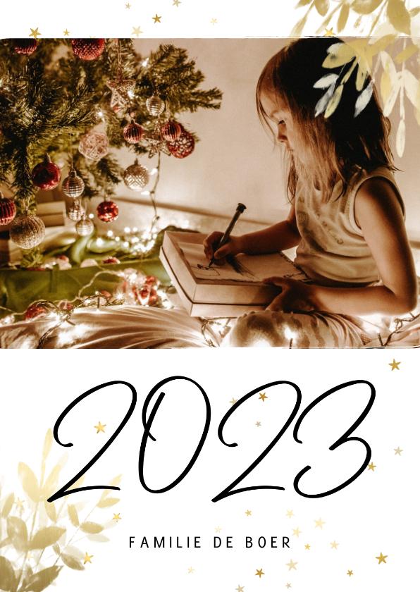 Kerstkaarten - Kerstkaart met foto, gouden sterren en handgeschreven 2022