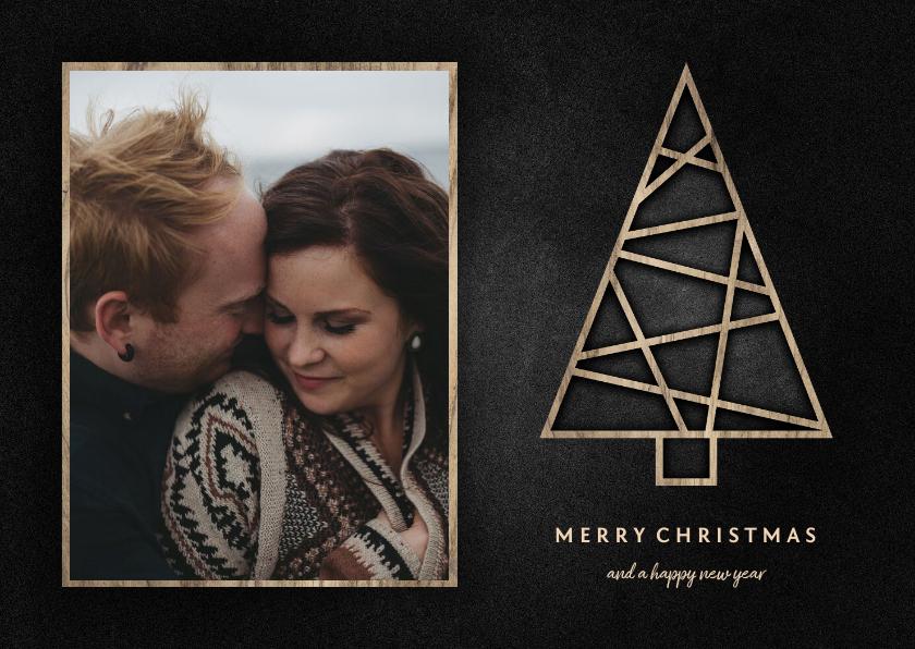 Kerstkaarten - Kerstkaart met foto, houten kerstboom en krijtbord
