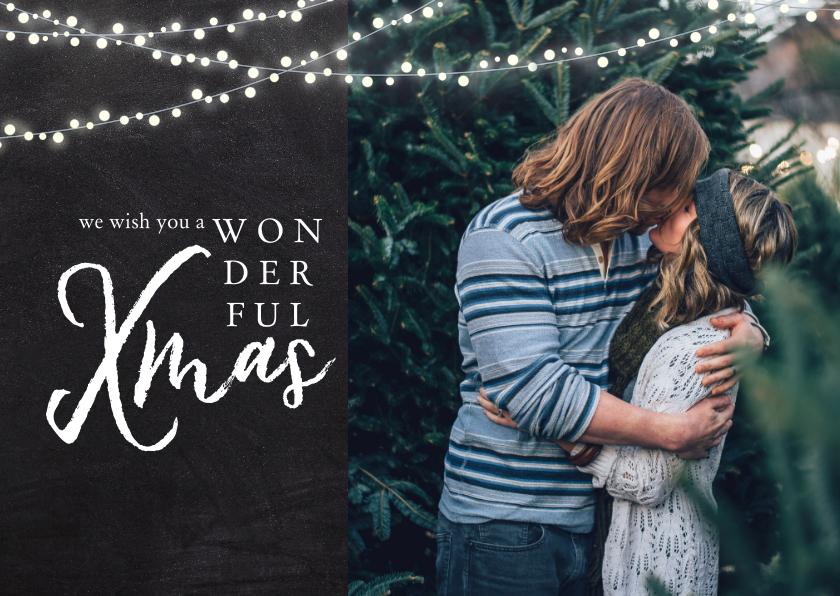 Kerstkaarten - Kerstkaart met foto, lampjes en 'wonderful XMAS'