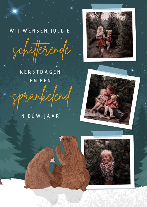 Kerstkaarten - Kerstkaart met fotocollage en illustratie van 3 beren