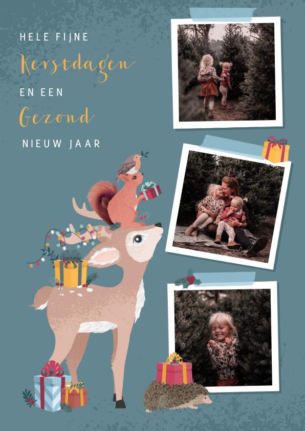 Kerstkaarten - Kerstkaart met fotocollage en illustratie van bosdieren