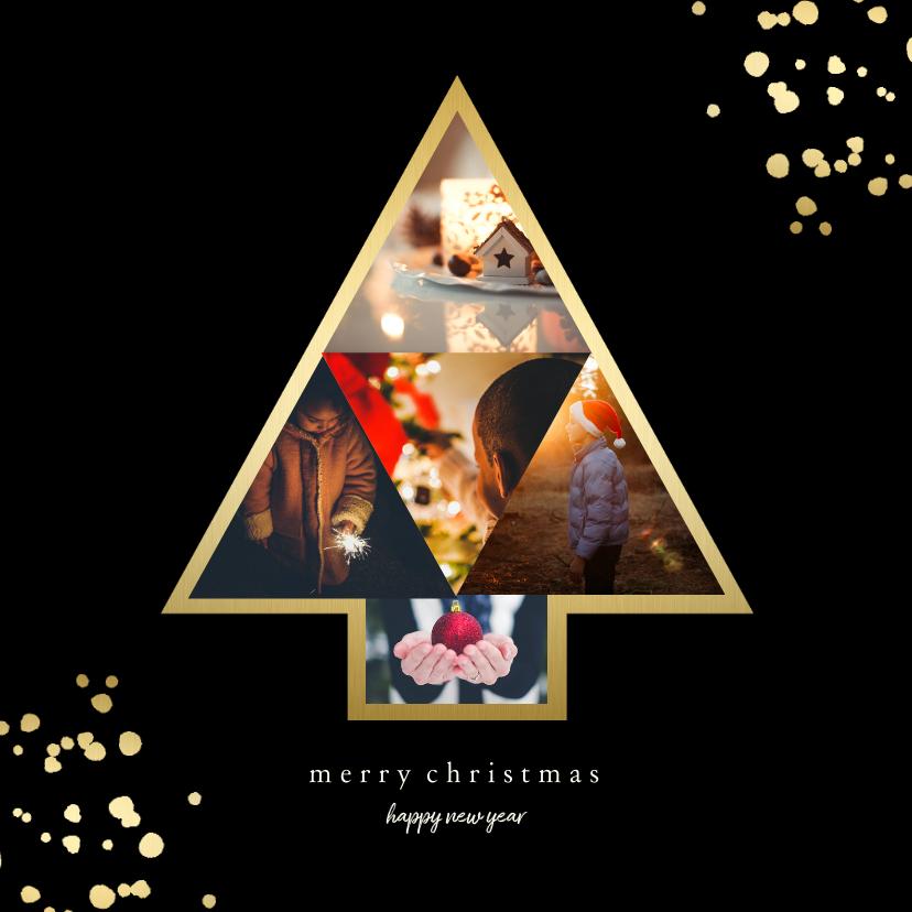 Kerstkaarten - Kerstkaart met fotokerstboom en gouden confetti