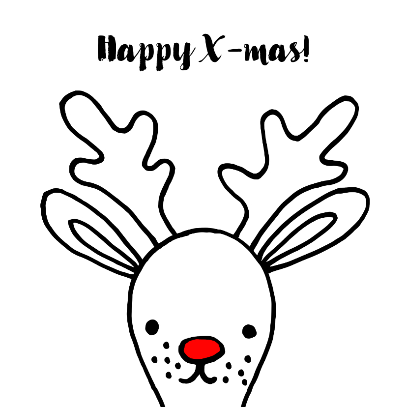 Kerstkaarten - Kerstkaart met getekende Rudolf