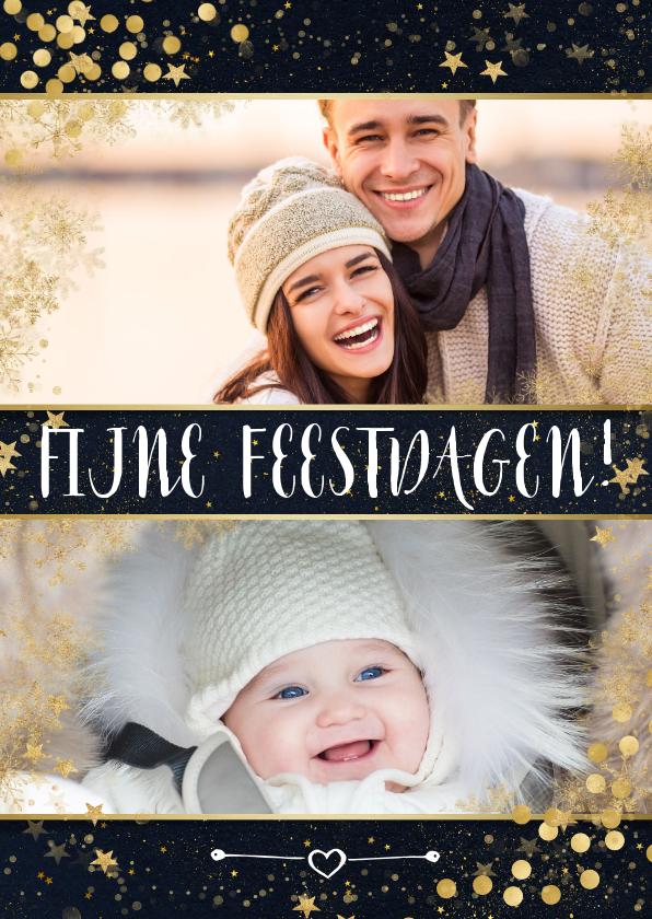 Kerstkaarten - Kerstkaart met goudaccenten confetti en glitters