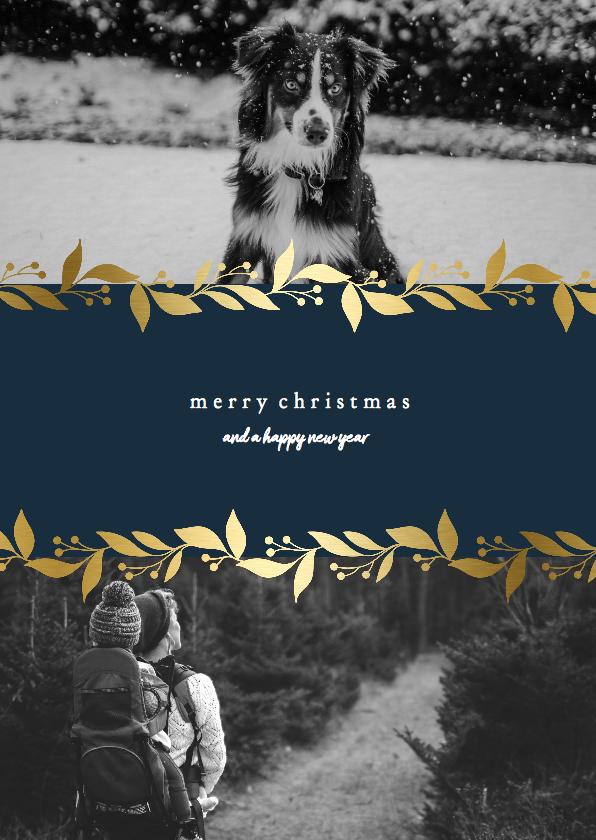 Kerstkaarten - Kerstkaart met gouden bloemenkader en foto's