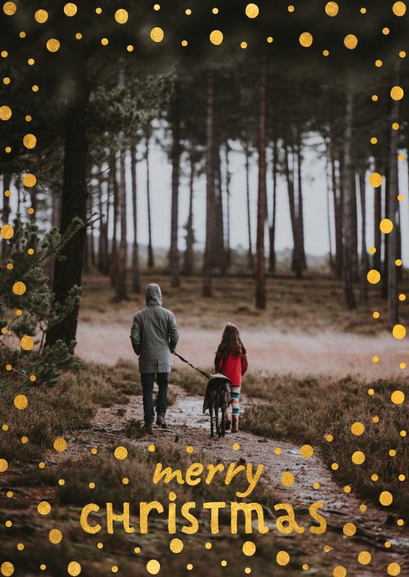 Kerstkaarten - Kerstkaart met gouden confetti kader en speelse typografie