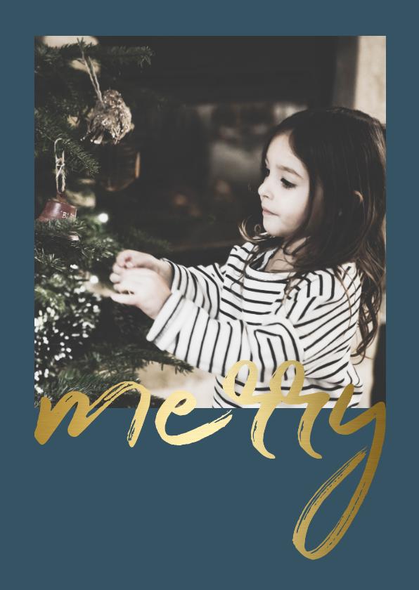 Kerstkaarten - Kerstkaart met gouden 'merry' en een foto