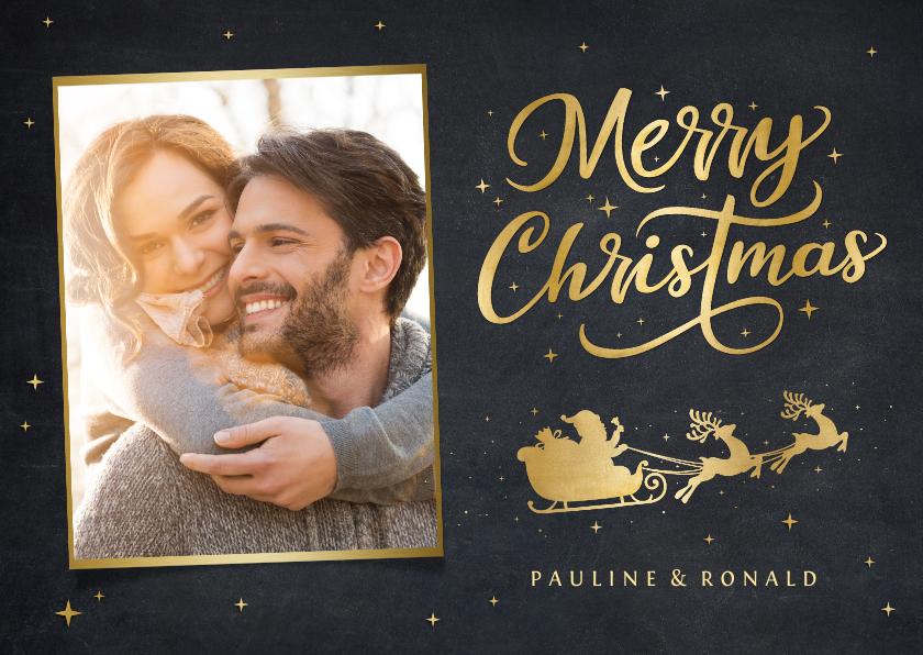Kerstkaarten - Kerstkaart met gouden silhouet van een kerstman in arreslee