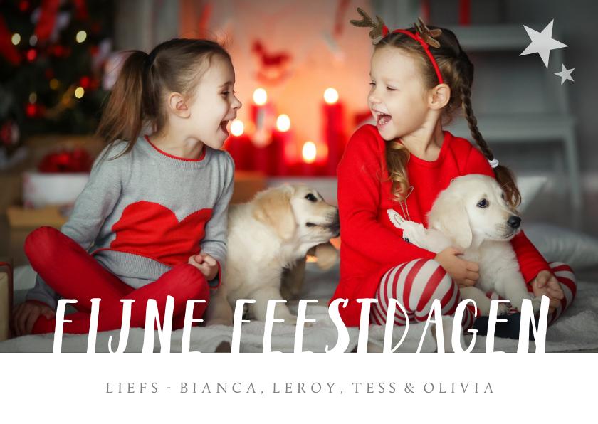 Kerstkaarten - Kerstkaart met grote eigen foto en fijne feestdagen