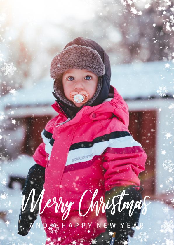 Kerstkaarten - Kerstkaart met grote foto en sneeuwkader