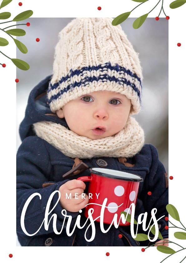 Kerstkaarten - Kerstkaart met grote foto, takjes en rode besjes