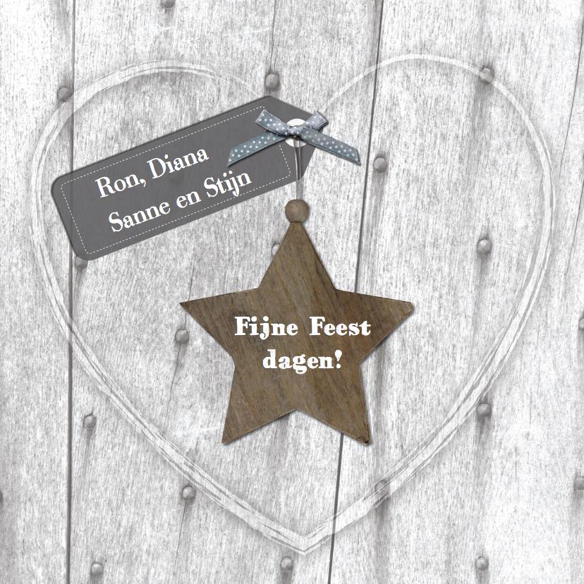 Kerstkaarten - Kerstkaart met hart label en ster
