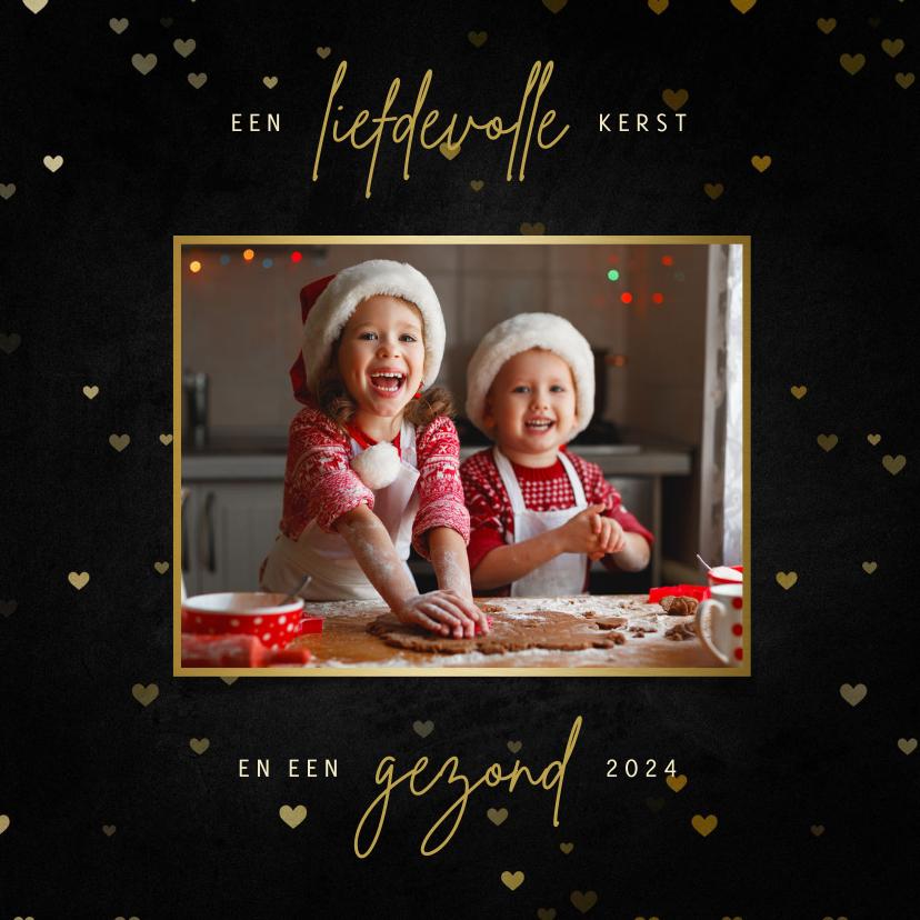 Kerstkaarten - Kerstkaart met hartjes en grote foto