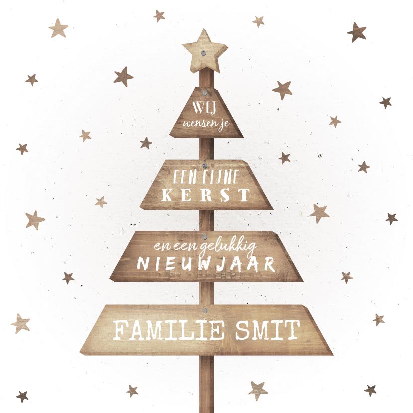 Kerstkaarten - Kerstkaart met houten kerstboom en sterren