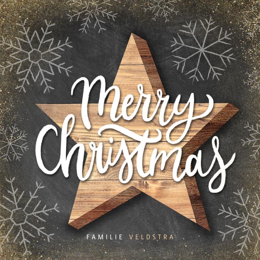 Kerstkaarten - Kerstkaart met houten ster, Merry Christmas en sneeuwvlokken