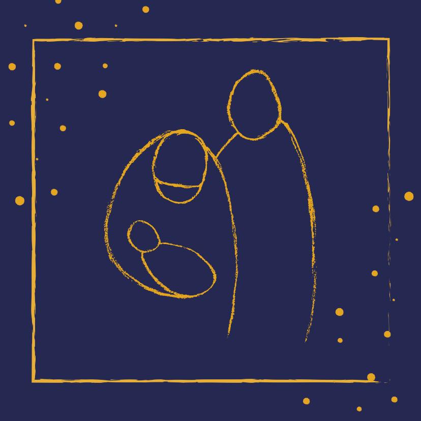 Kerstkaarten - Kerstkaart met illustratie Jozef, Maria en Jezus