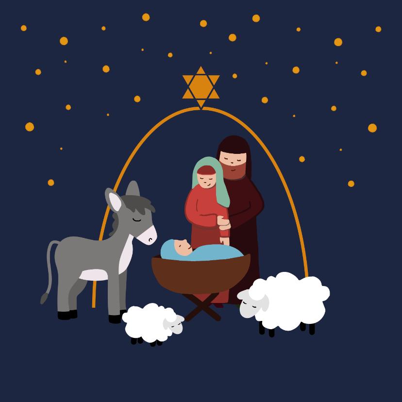 Kerstkaarten - Kerstkaart met illustratie Jozef Maria Jezus in de stal