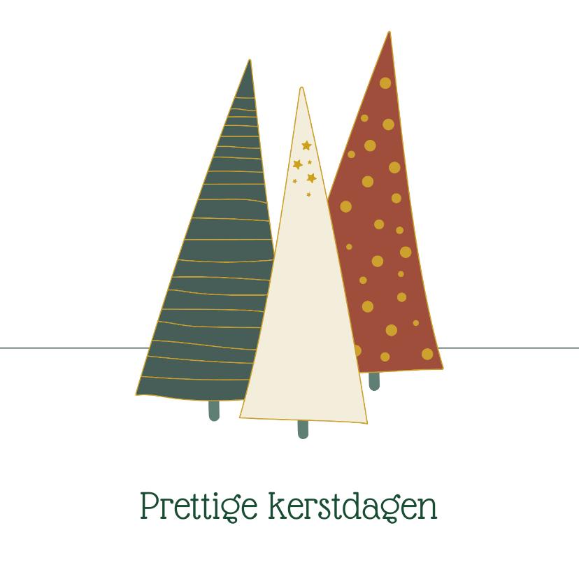 Kerstkaarten - Kerstkaart met illustratie kerstbomen
