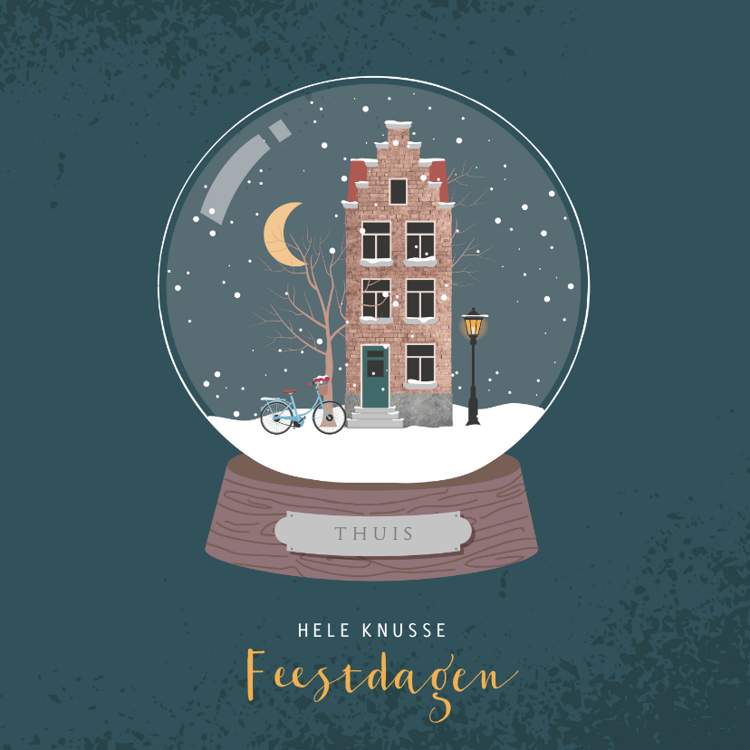 Kerstkaarten - Kerstkaart met illustratie van een sneeuwbol met huisje