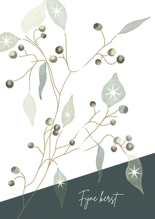 Kerstkaarten - Kerstkaart met illustratie van takjes met besjes en blaadjes
