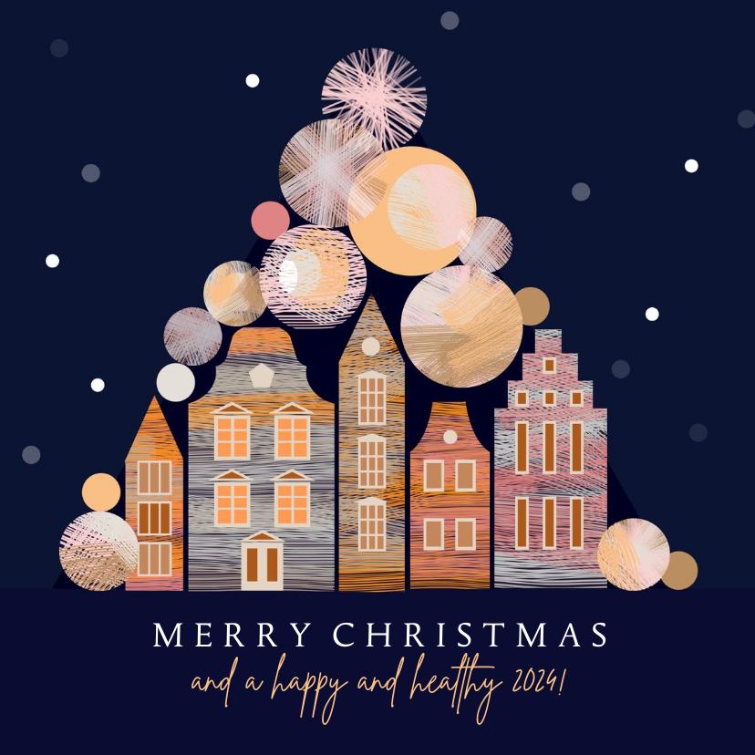 Kerstkaarten - Kerstkaart met kerstballen en Amsterdam huisjes