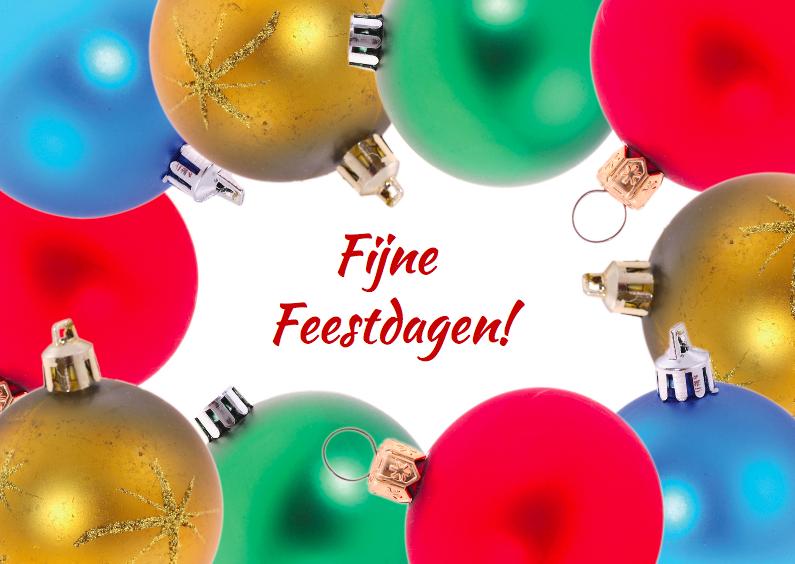 Kerstkaarten - Kerstkaart met kerstballen kader 2