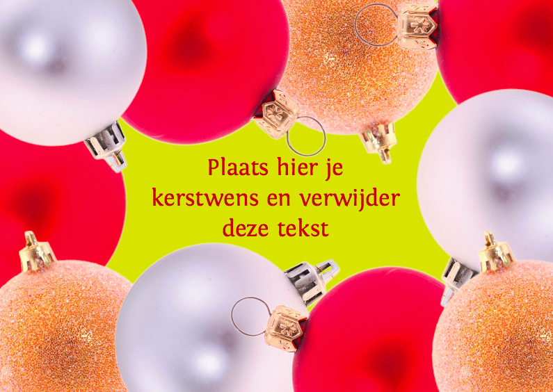 Kerstkaarten - Kerstkaart met kerstballen kader 5