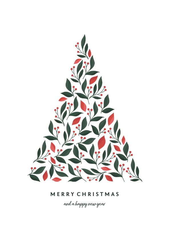 Kerstkaarten - Kerstkaart met kerstboom botanisch licht