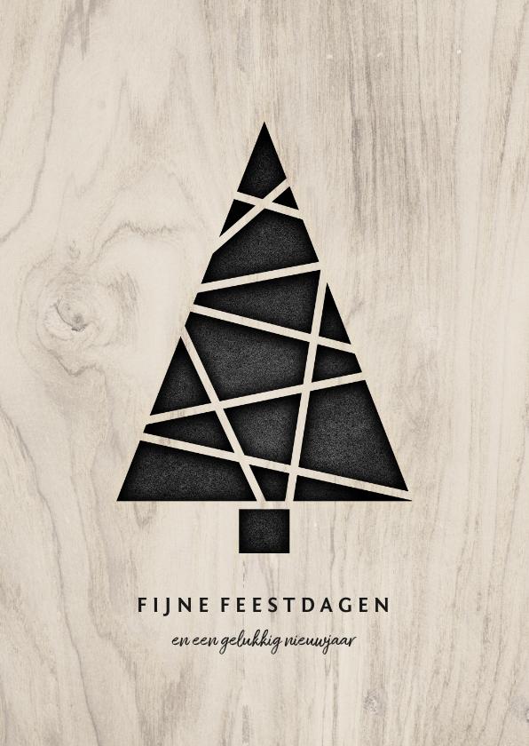 Kerstkaarten - Kerstkaart met kerstboom en houten achtergrond