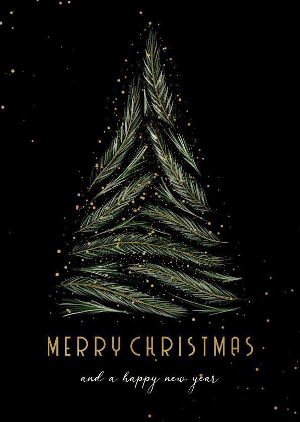 Kerstkaarten - Kerstkaart met kerstboom van dennentakjes en goud