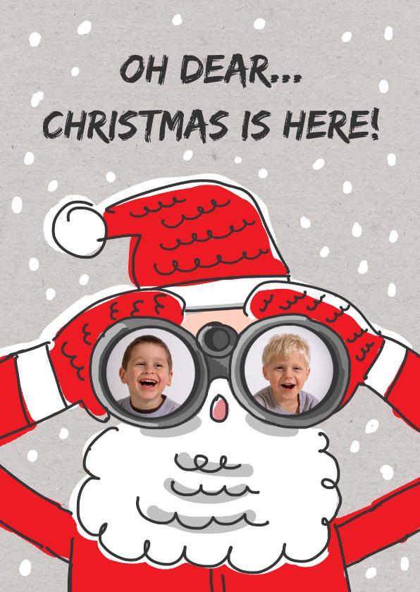 Kerstkaarten - Kerstkaart met kerstman met verrekijker en foto's
