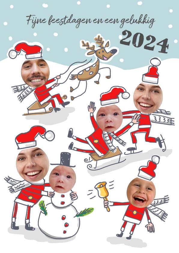Kerstkaarten - Kerstkaart met kerstmannen in de sneeuw met 6 foto's