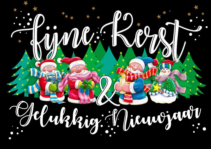 Kerstkaarten - Kerstkaart met kerstmannetjes en tekst
