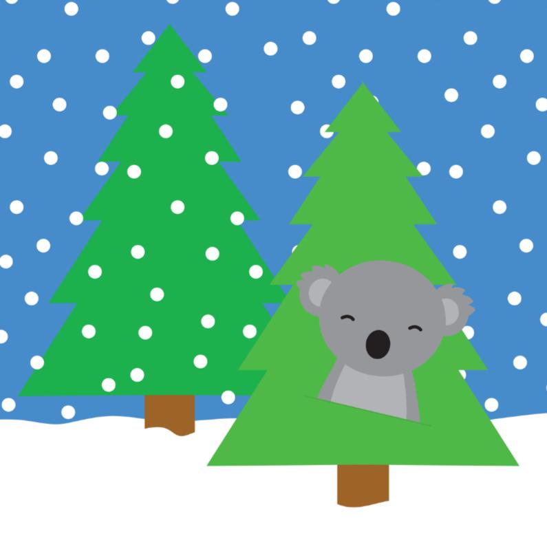 Kerstkaarten - Kerstkaart met Koala in de Sneeuw