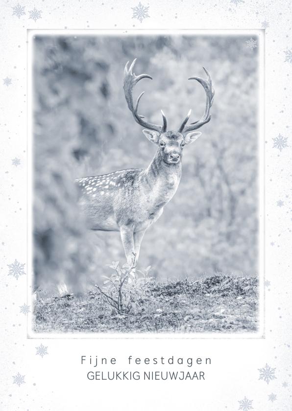 Kerstkaarten - Kerstkaart met mannetjes damhert