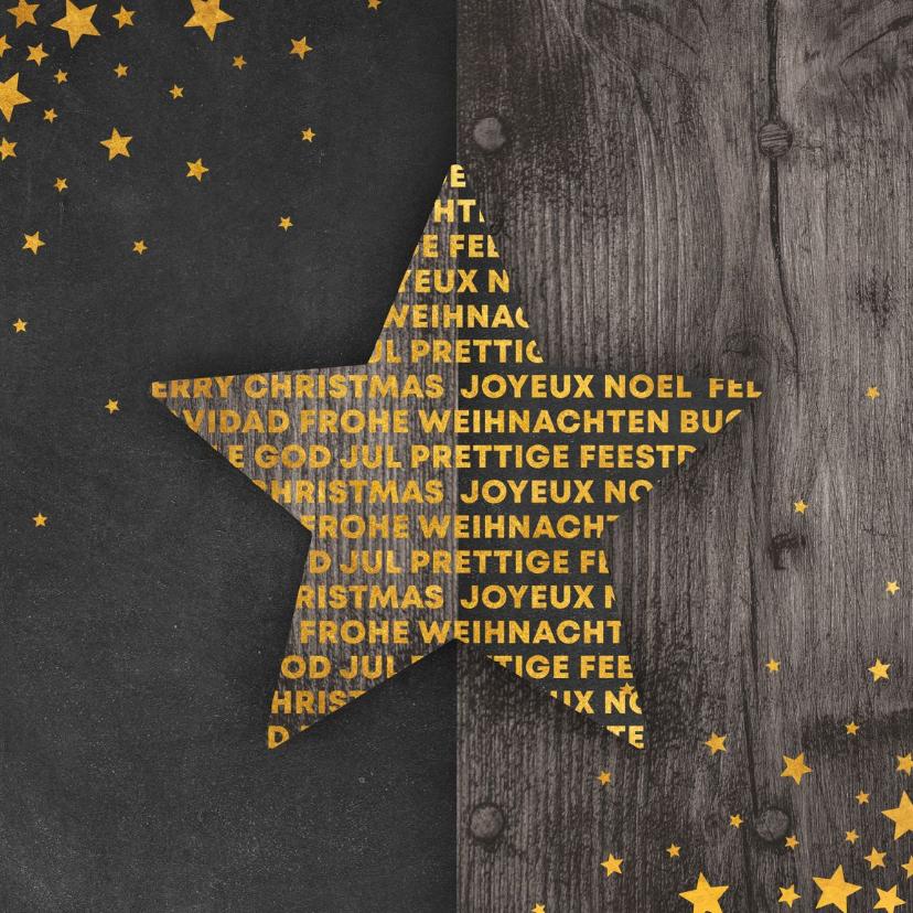 Kerstkaarten - Kerstkaart met meertalige ster en gouden sterren