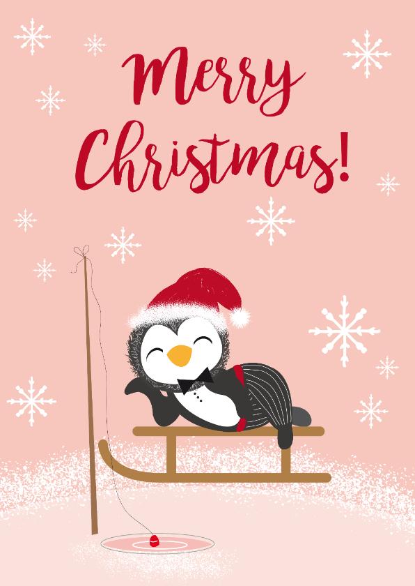 Kerstkaarten - Kerstkaart met pinguïn in de sneeuw