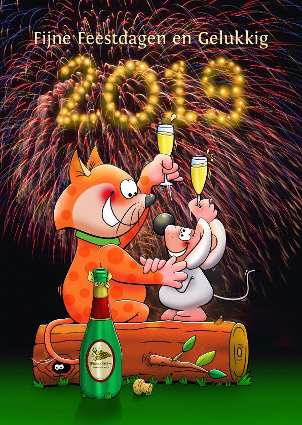 Kerstkaarten - Kerstkaart met poes en muis met champagne