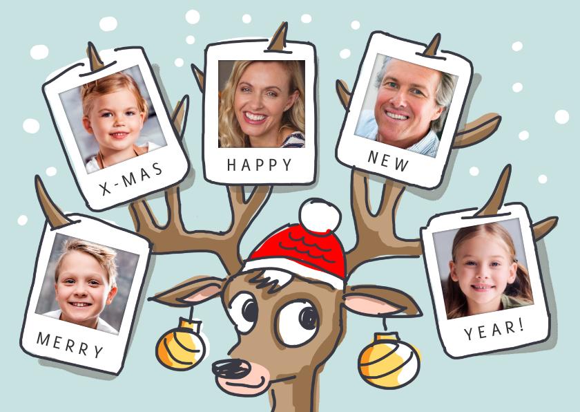 Kerstkaarten - Kerstkaart met rendier gewei met 5 foto's