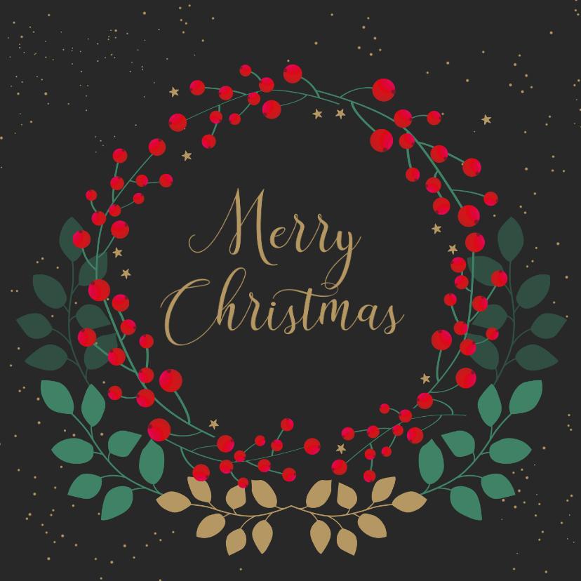 Kerstkaarten - Kerstkaart met rode besjes en goudlook takjes