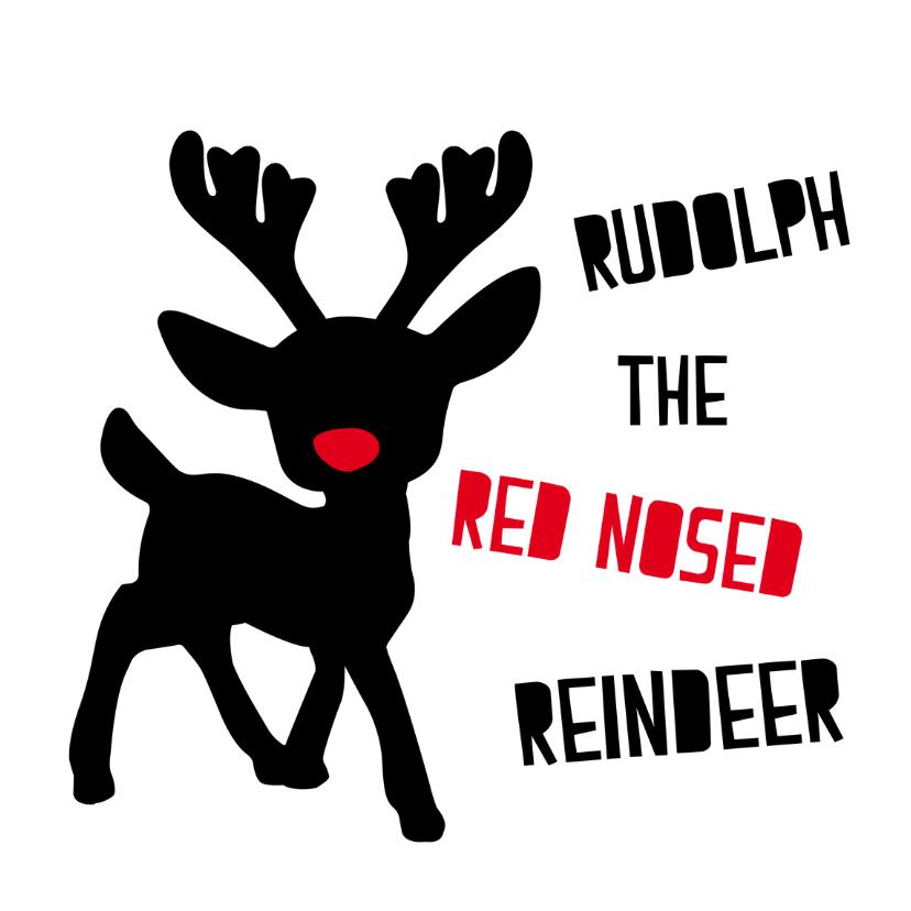 Kerstkaarten - Kerstkaart met Rudolph the red nosed reindeer