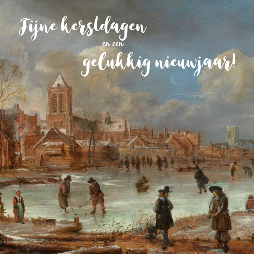 Kerstkaarten - Kerstkaart met schilderij Aert van der Neer