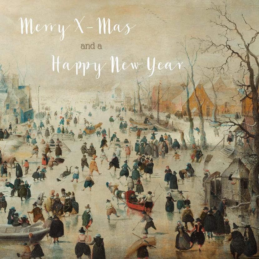 Kerstkaarten - Kerstkaart met schilderij van prachtig winterlandschap