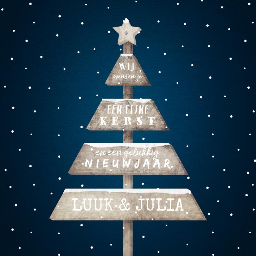 Kerstkaarten - Kerstkaart met sneeuw en houten kerstboom