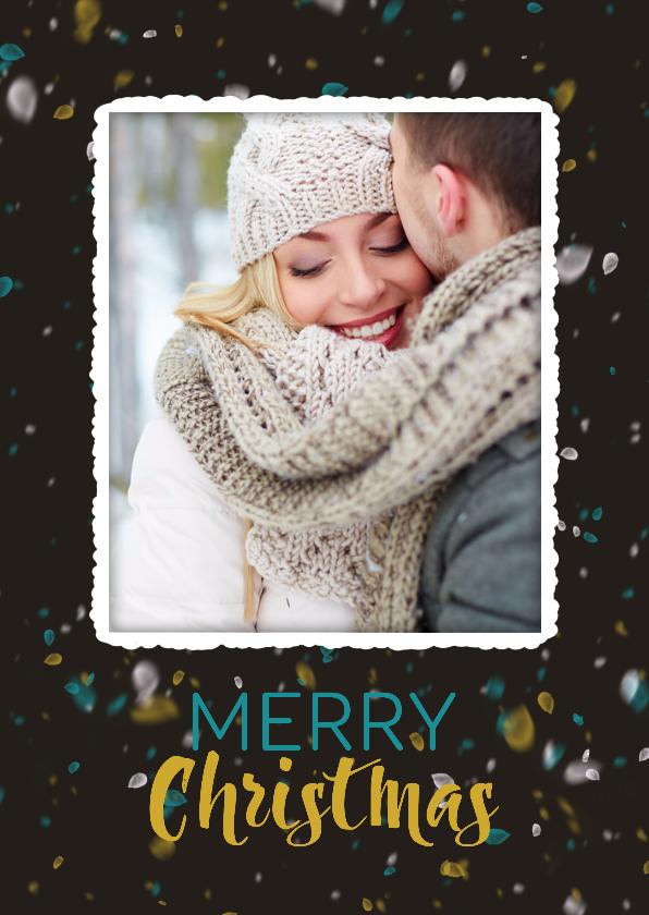 Kerstkaarten - Kerstkaart met sneeuw in trendy kleuren  en eigen foto isf