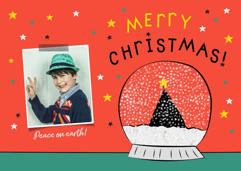 Kerstkaarten - Kerstkaart met sneeuwbol illustratie