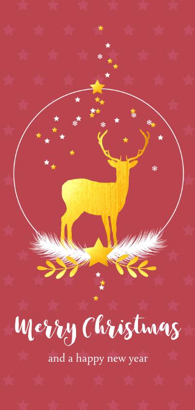 Kerstkaarten - Kerstkaart met sneeuwbol met rendier en sterren