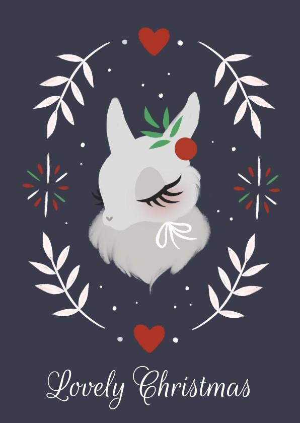 Kerstkaarten - Kerstkaart met sneeuwkonijntje