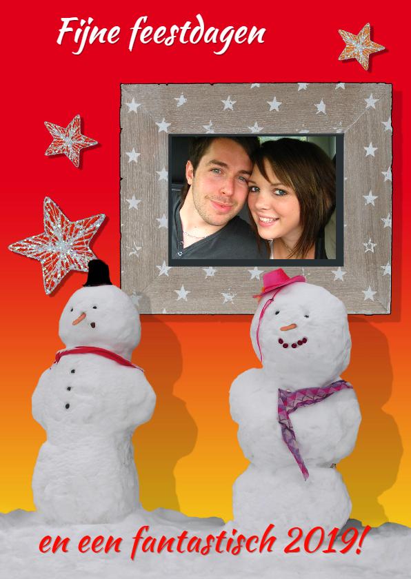 Kerstkaarten - Kerstkaart met sneeuwpoppen